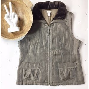 Chico's metallic faux fur vest size 2
